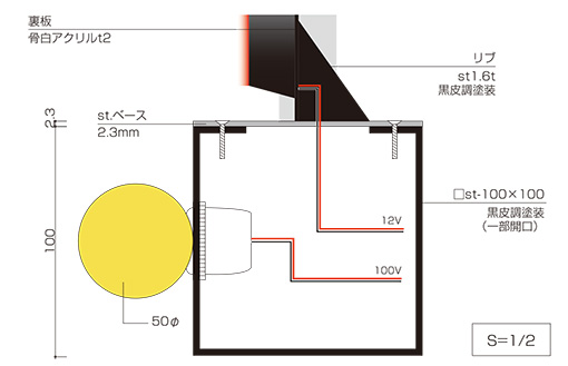LEDサインのボール電球仕様図面